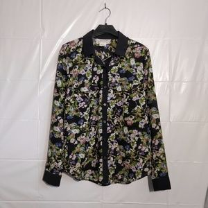 Urban Outfitters | floral chiffon collared shirt